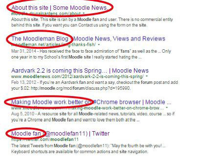 Oodles of free promotions. Moodle fan sites spring up in SERP.