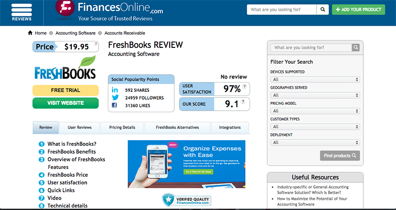 Here's how a review of your product may look like on a website like FinancesOnline. Hosting your reviews on an external review platform will increase your credibility.