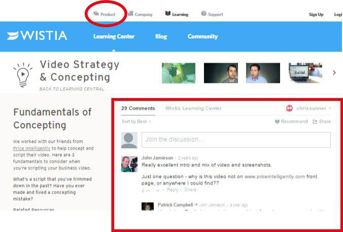 Wistia, a video hosting service, discusses about how to create powerful videos. Notice the product section (red circle) is subtle, while the topic is highlighted to engage more users.