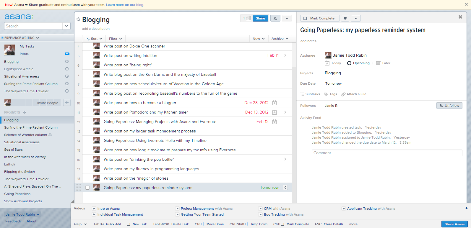 Overview of Asana interface