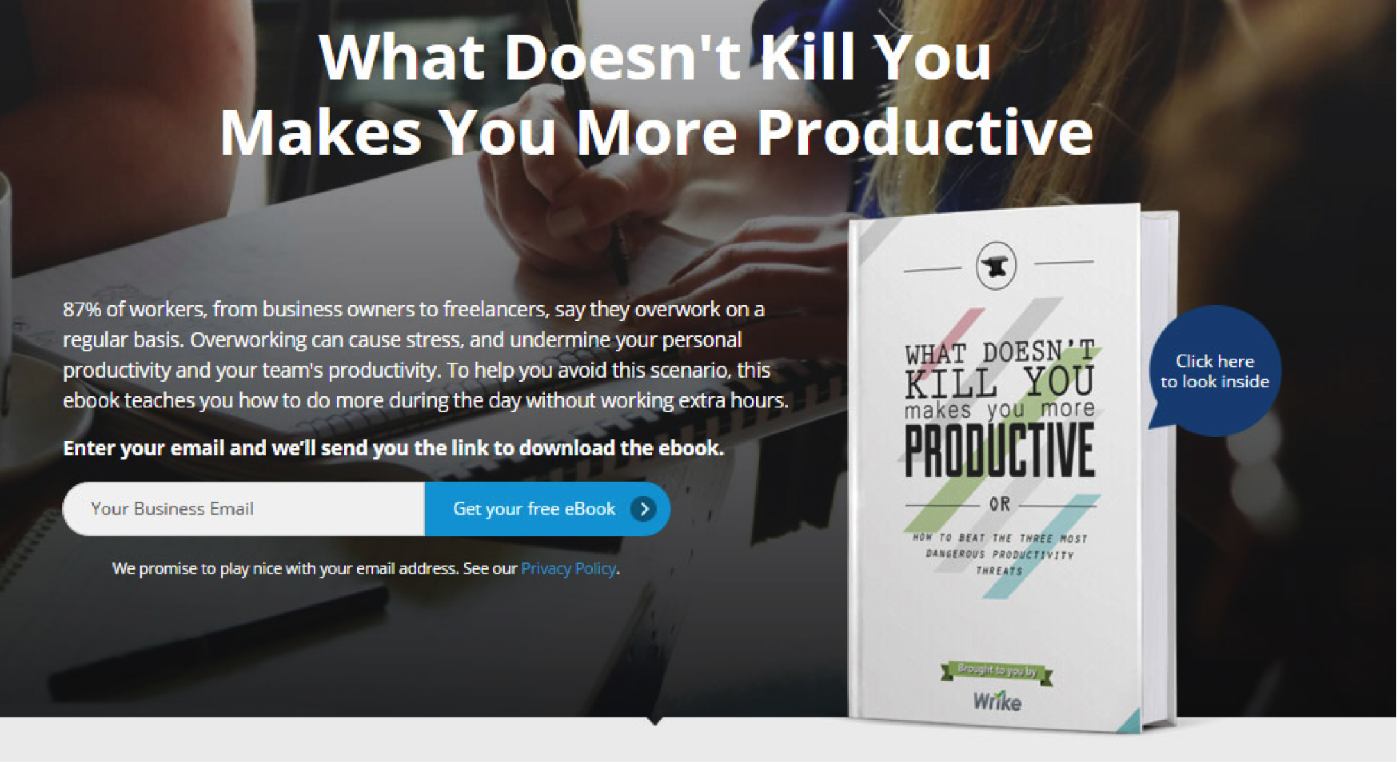 This ebook from Wrike doesn't talk about the software; rather, about the need for collaboration to offload tasks.