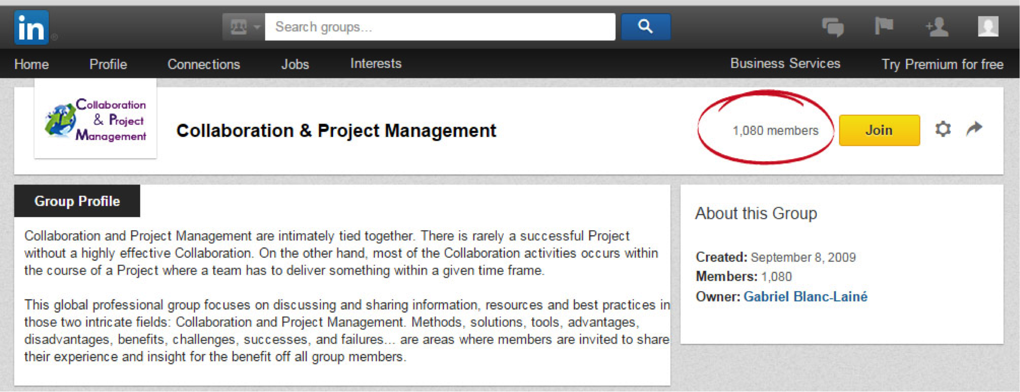 LinkedIn groups like this with 1,080 members is prime property to get leads.