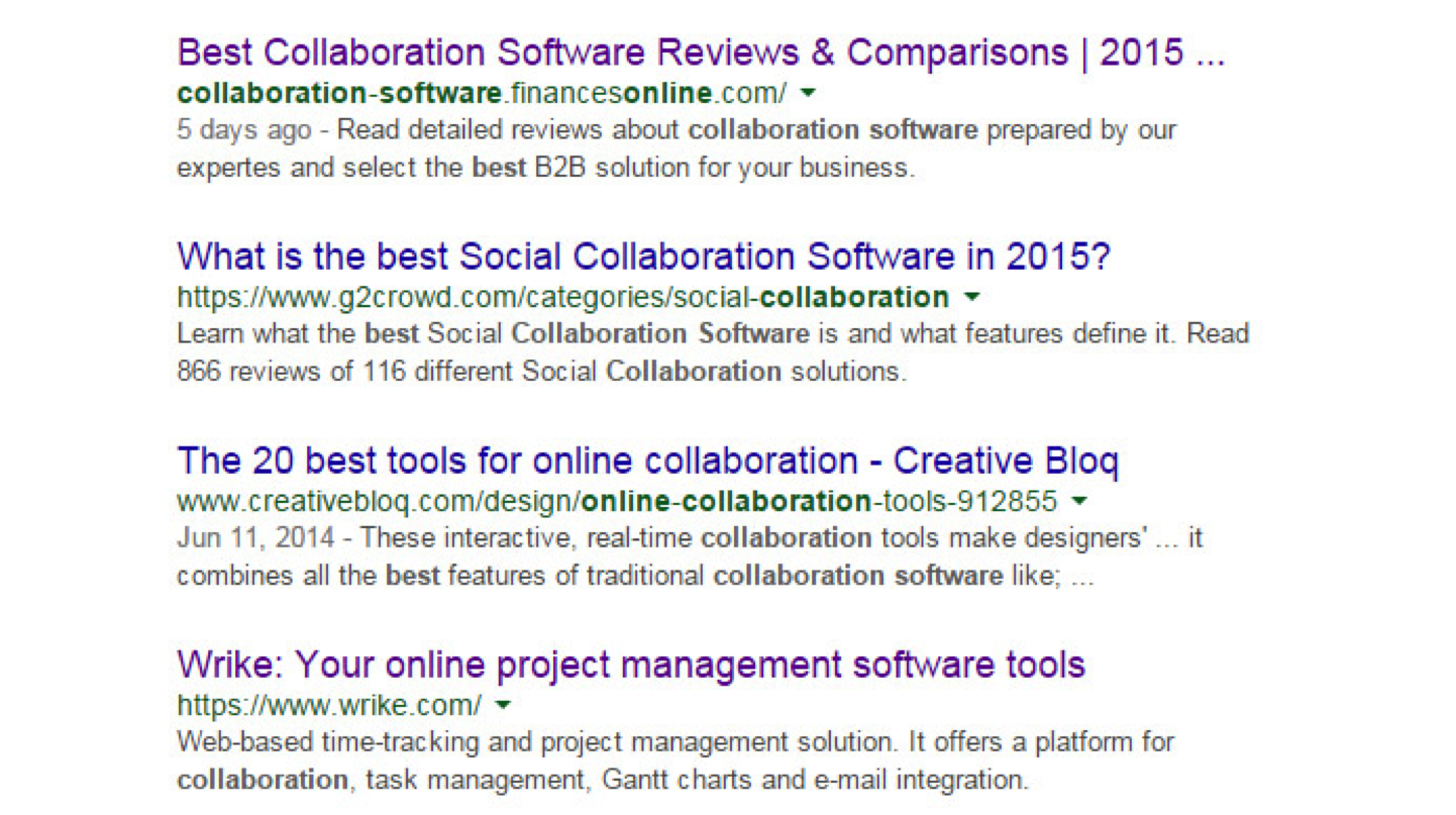 """In this first page of SERPs for the keyphrase """"top collaboration software"""" you can see review sites like FinancesOnline appearing before actual product sites like Wrike."""