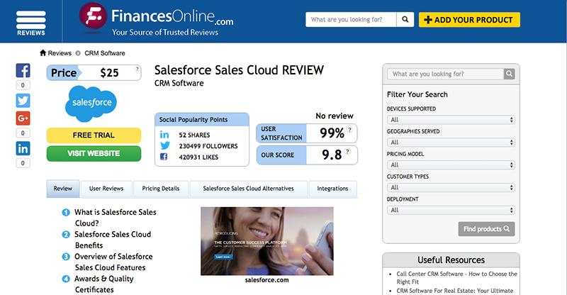 Sample review page on FinancesOnline.com website