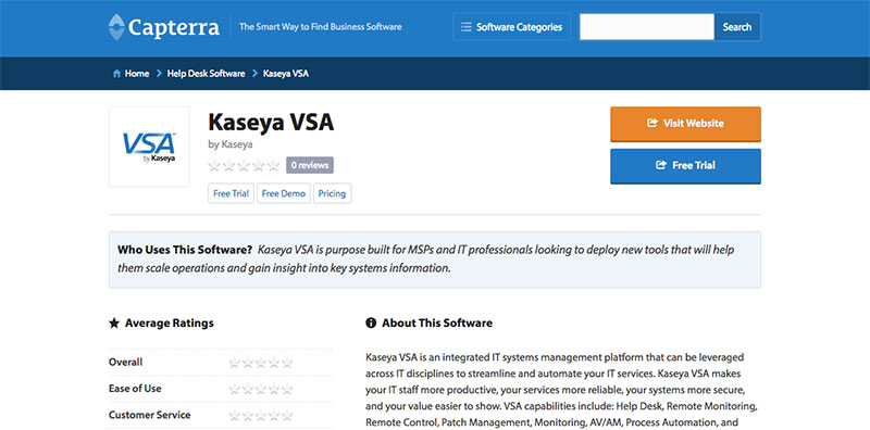 Sample review page on capterra.com