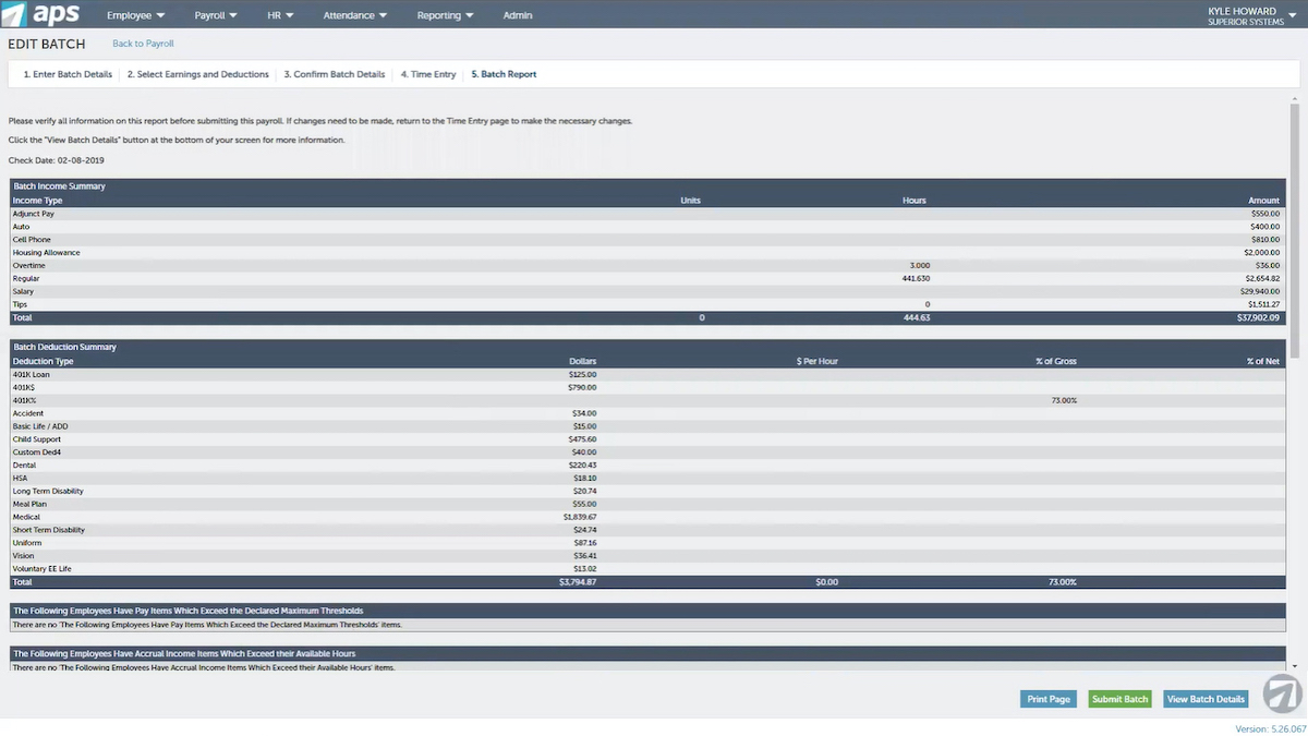 APS Payroll and HR Dashboard
