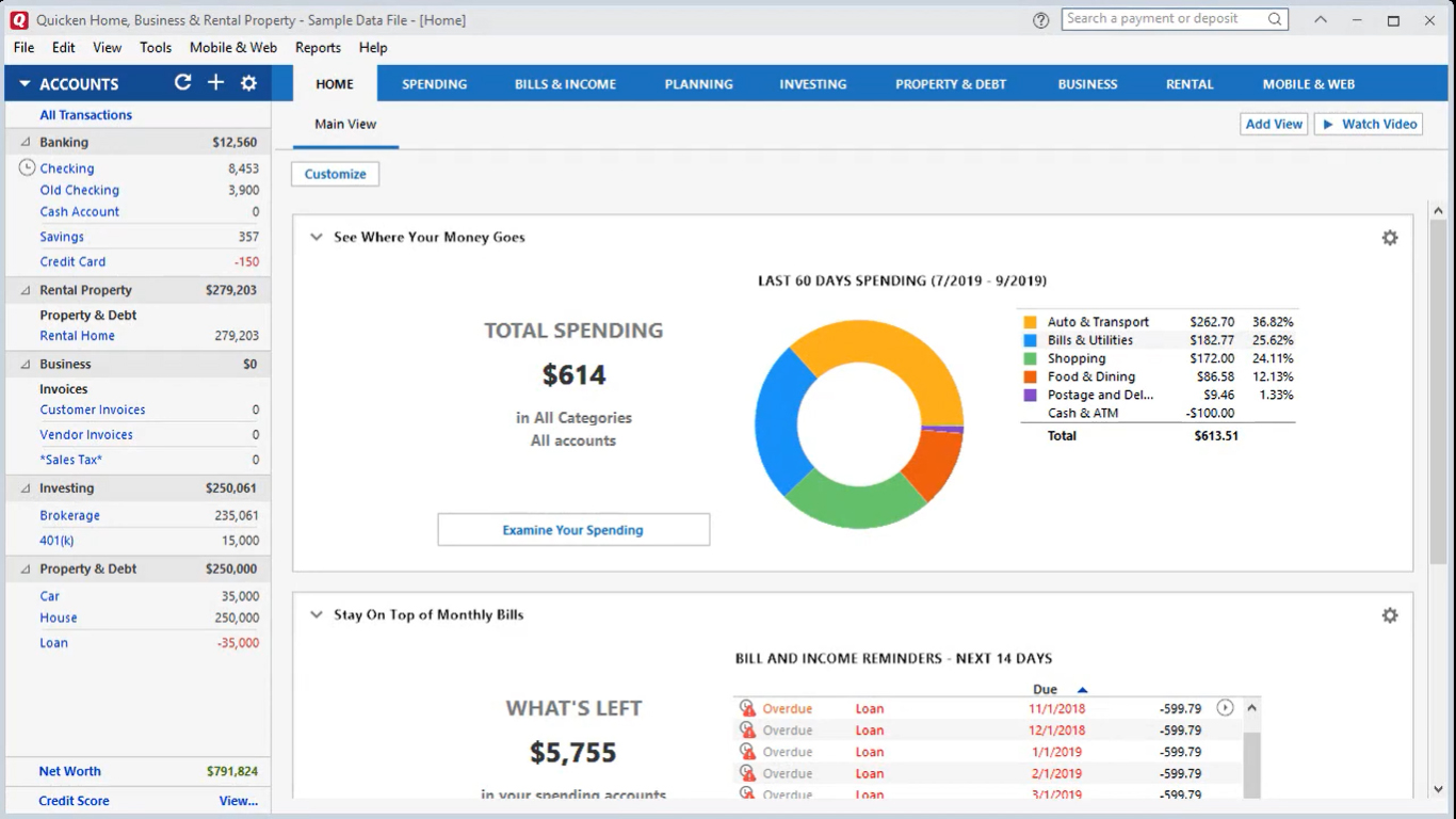 Quicken dashboard