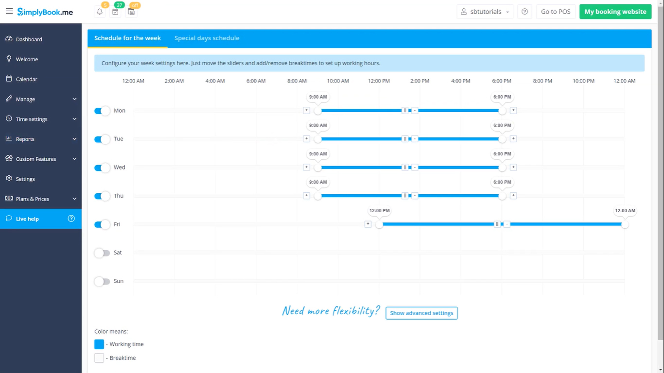 simplybookme dashboard