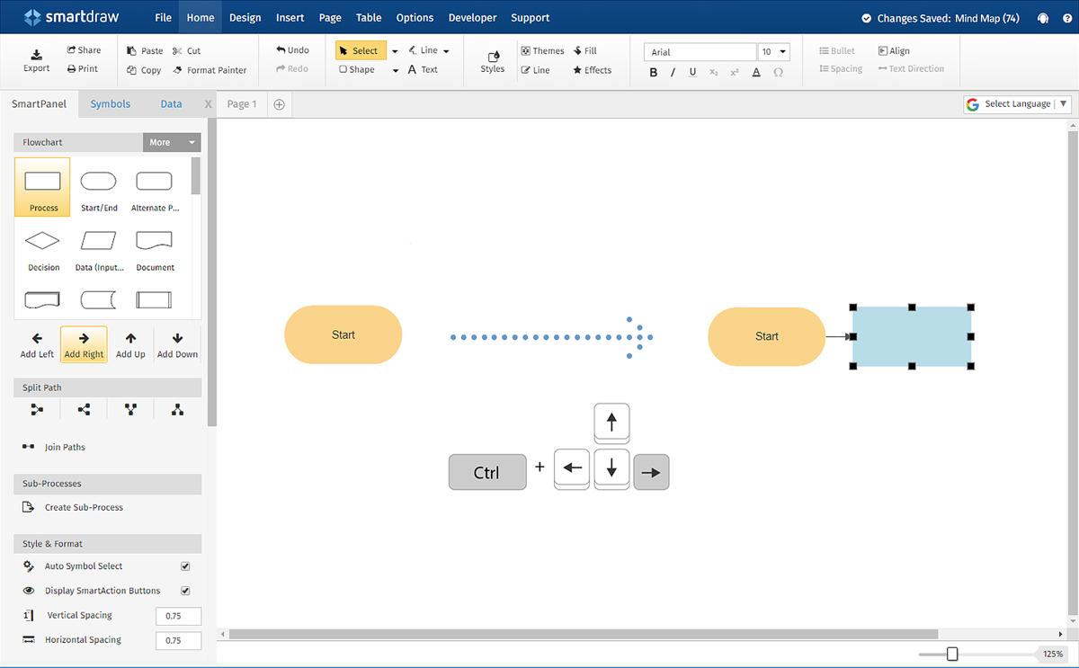 SmartDraw mindmap dashboard