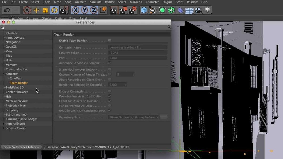 Cinema 4D dashboard