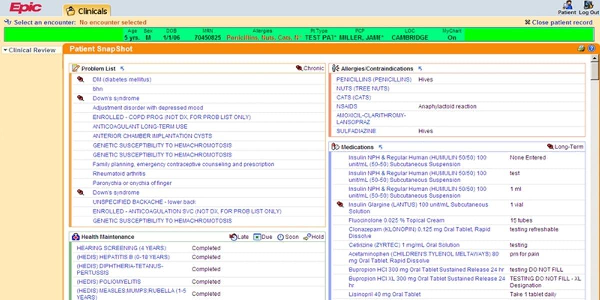 EpicCare dashboard