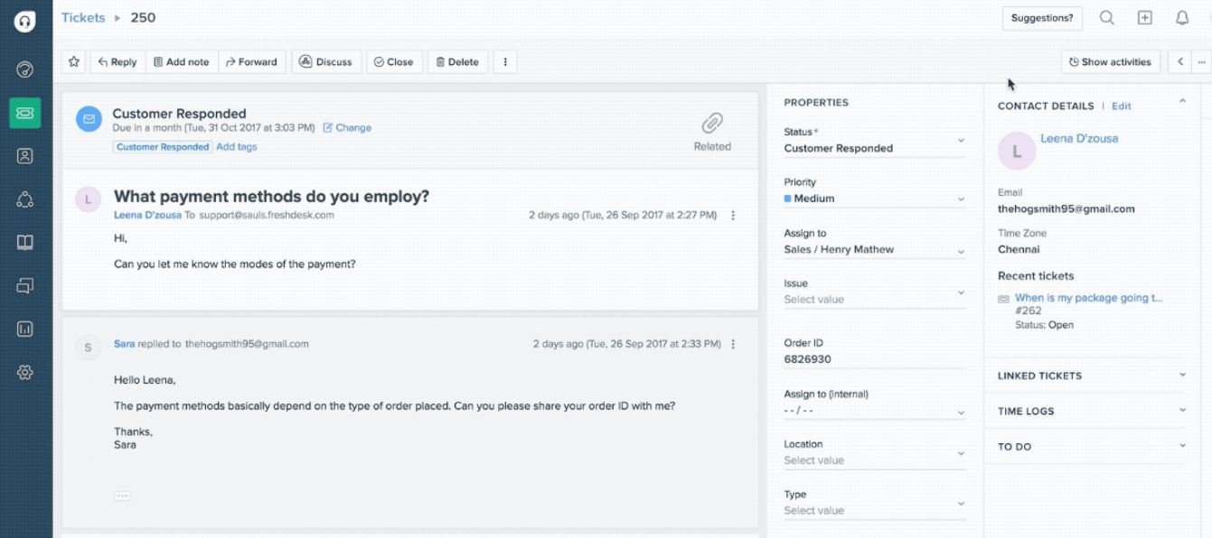 Freshdesk ticket management