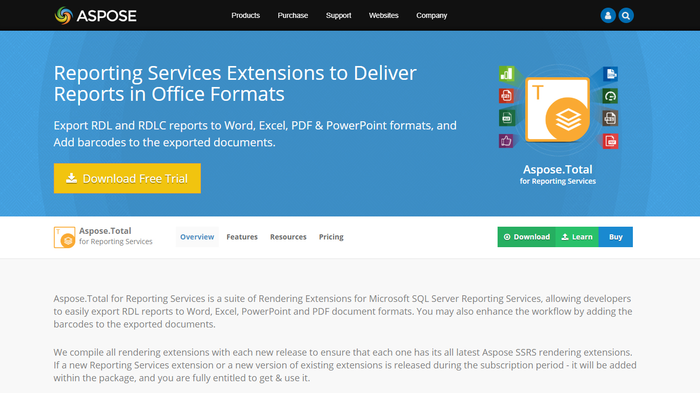 Aspose.Total for Reporting Services Dashboard