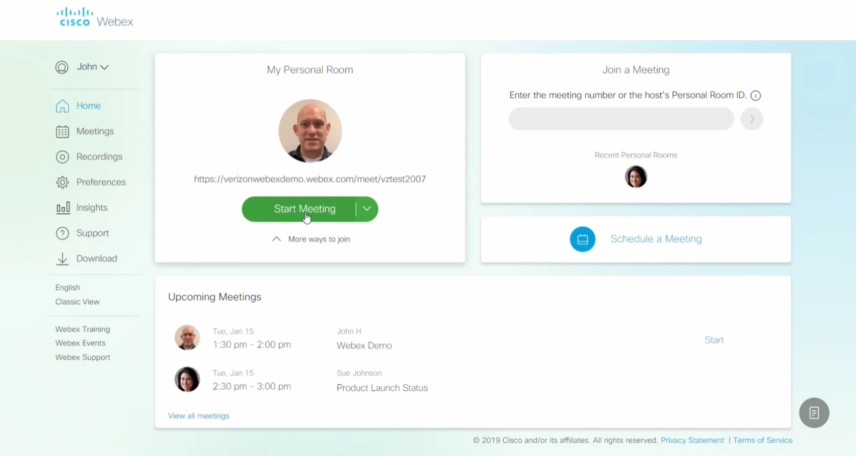 Cisco Webex dashboard