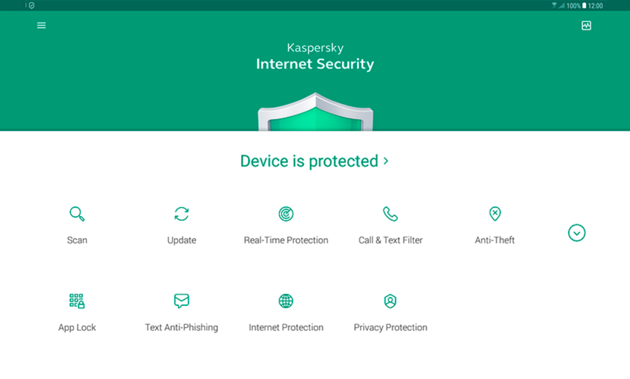 Kaspersky Internet Security dashboard