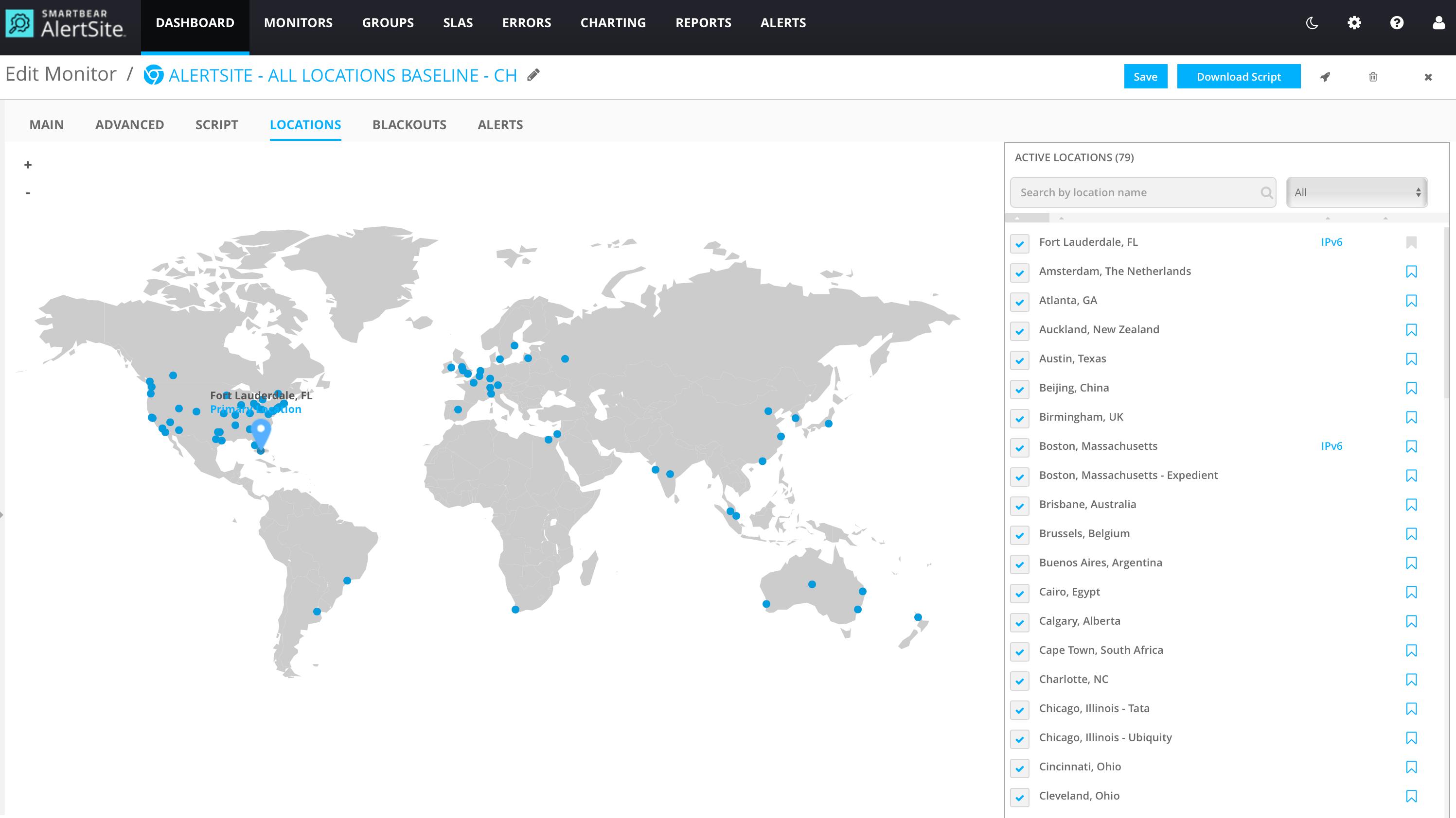 SmartBear AlertSite dashboard