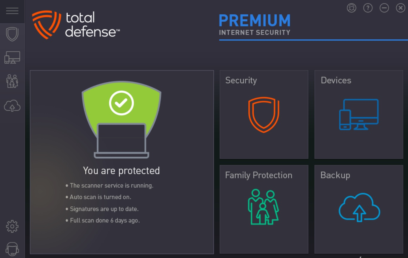 Total Defense Internet Security Suite dashboard