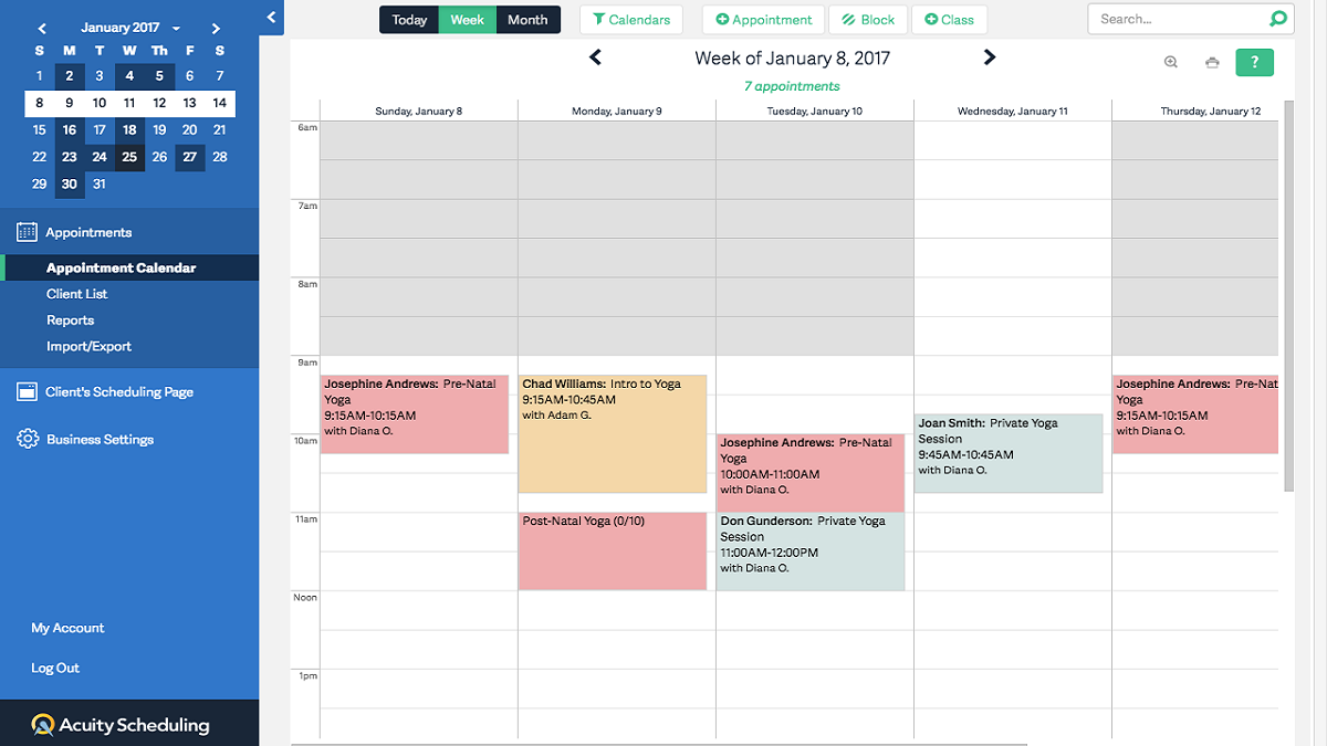 Acuity Scheduling dashboard