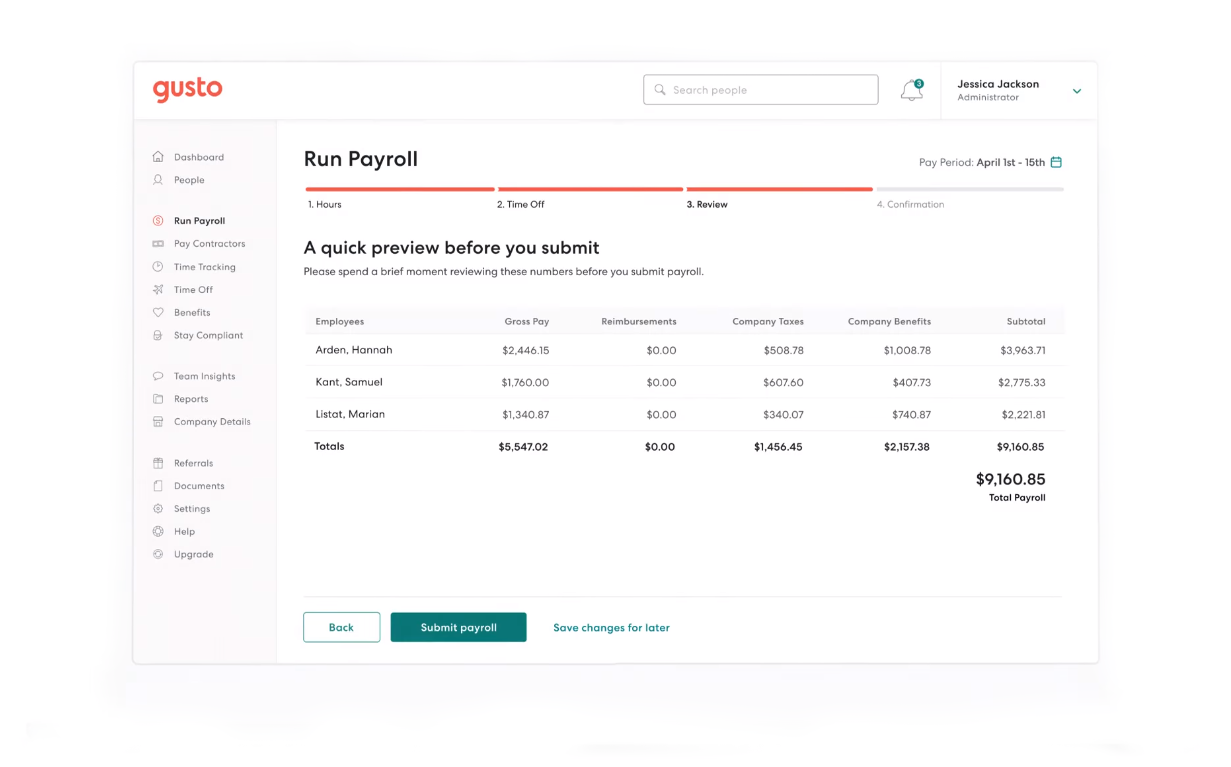 Gusto Payroll dashboard