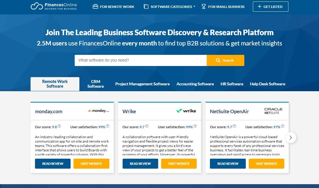 FinancesOnline home page